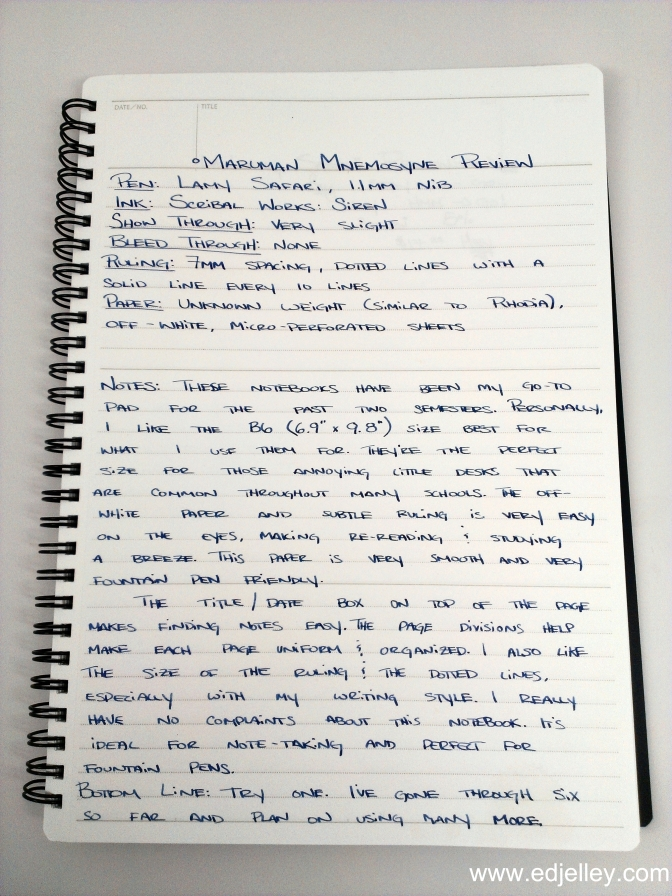 Maruman Mnemosyne Notebook – B5 size – Handwritten Review
