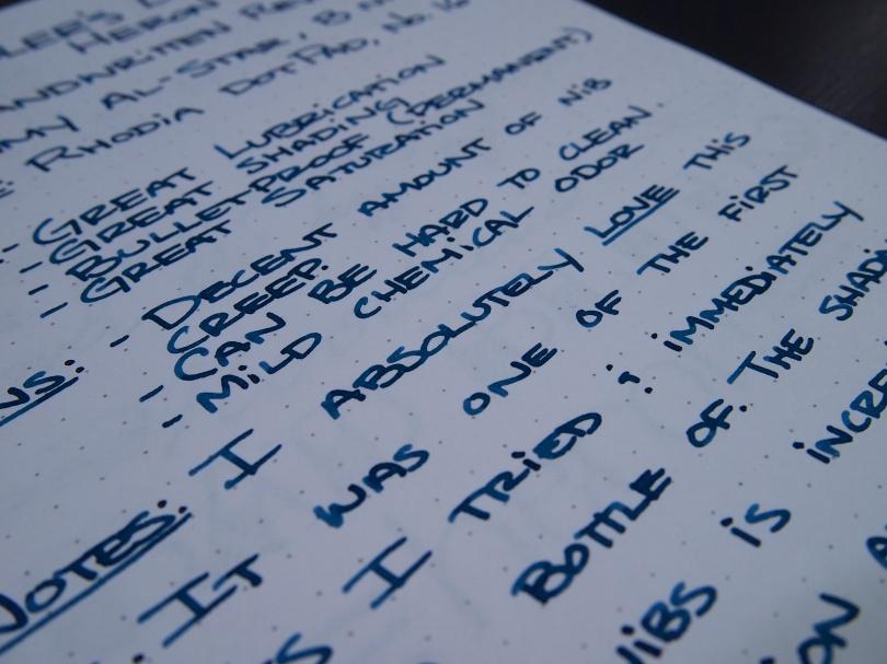 Noodler's Bad Blue Heron - Handwritten Review - Writing Close Up