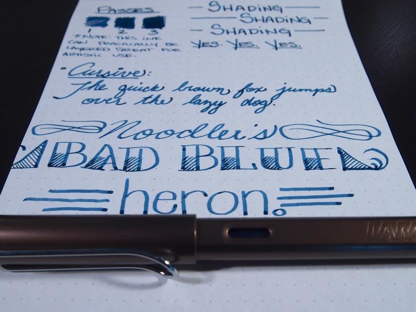 Noodler's Ink Bad Blue Heron Review Handwritten 4