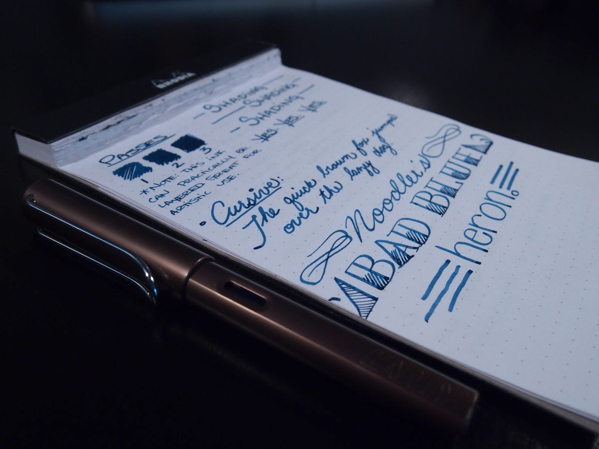 Noodler's Bad Blue Heron Review Handwritten 1