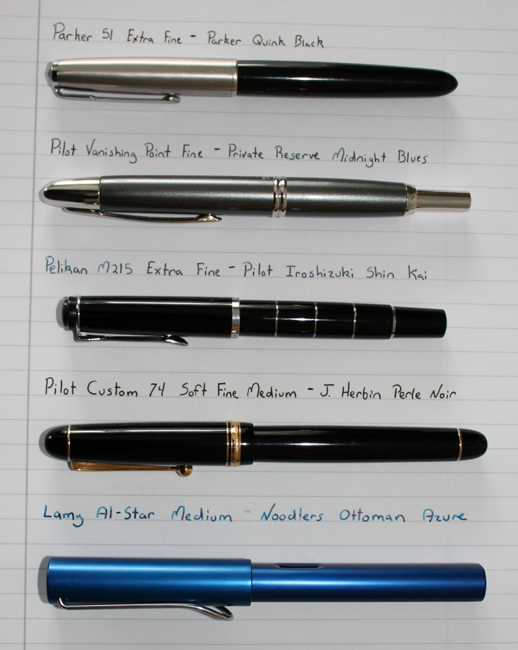 Parker 51, Pilot Vanishing Point, Lamy Al Star