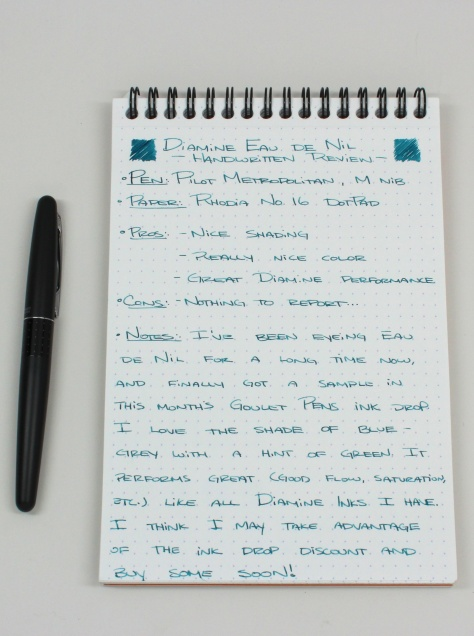 Diamine Eau de Nil Handwritten Review 1