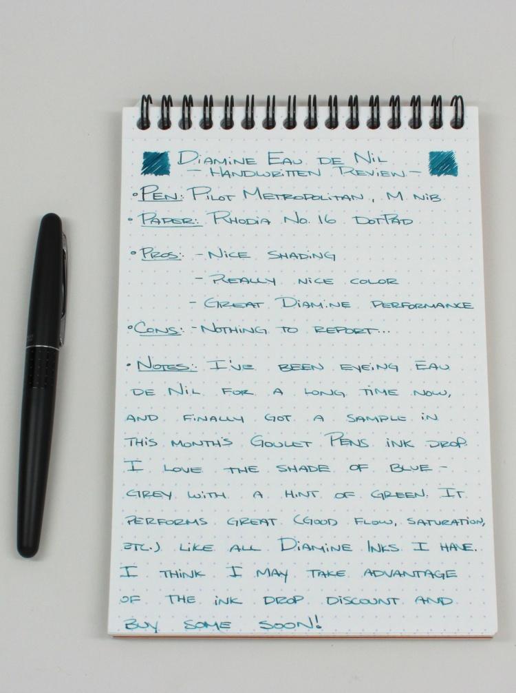 Diamine Eau de Nil Handwritten Review 1