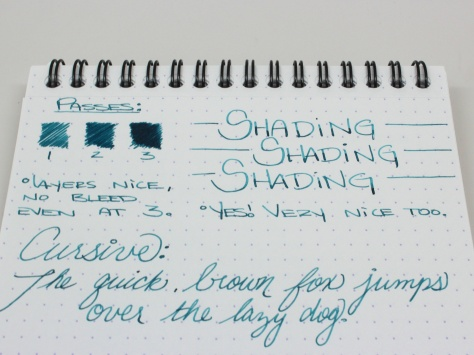 Eau de Nil has great shading, even in the finer Japanese Medium on the Pilot Metropolitan. It's very smooth, and the flow is right in the middle where I like it.