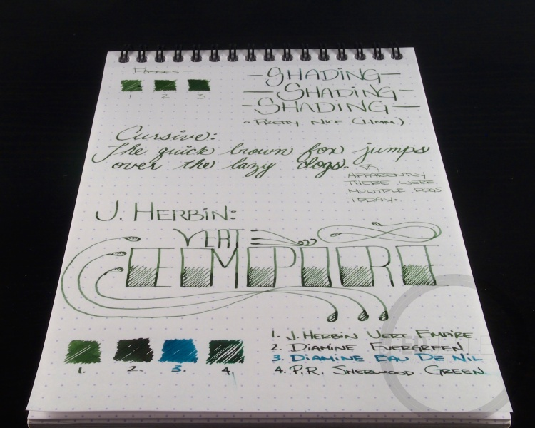 J. Herbin Vert Empire Fountain Pen Ink Handwritten Review 1