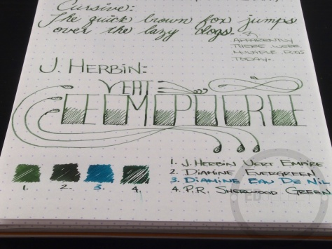 J. Herbin Vert Empire Fountain Pen Ink Handwritten Review 2