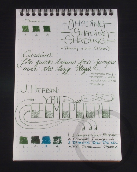 J. Herbin Vert Empire Fountain Pen Ink Handwritten Review 5
