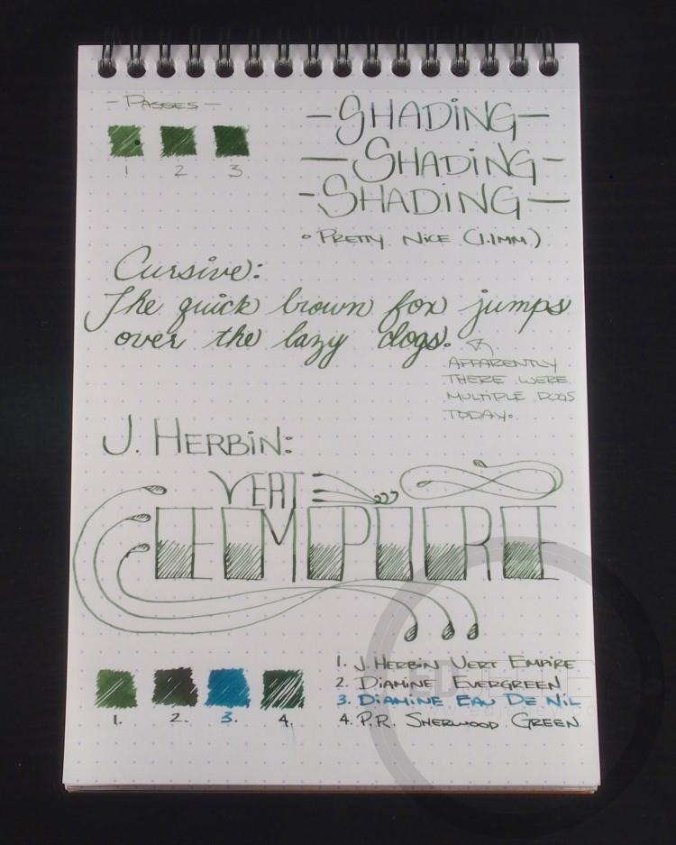 J. Herbin Vert Empire Fountain Pen Ink Handwritten Review 5