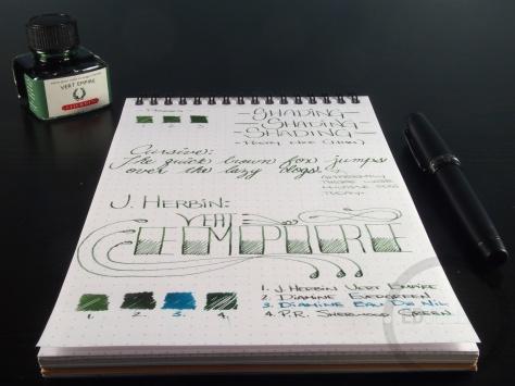 J. Herbin Vert Empire Fountain Pen Ink Handwritten Review 6