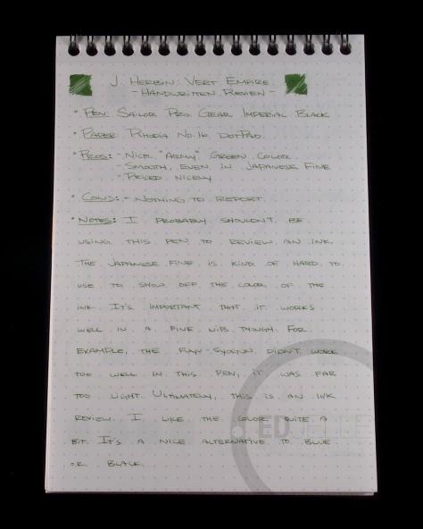 J. Herbin Vert Empire Fountain Pen Ink Handwritten Review 7