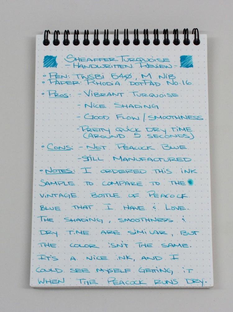 Sheaffer Turquoise Handwritten Review 1
