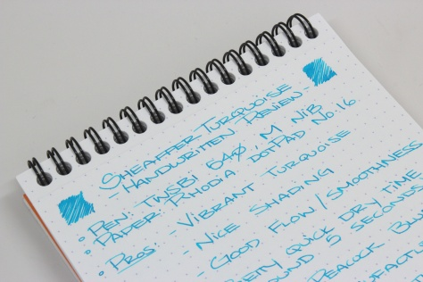 Sheaffer Turquoise Handwritten Review 3