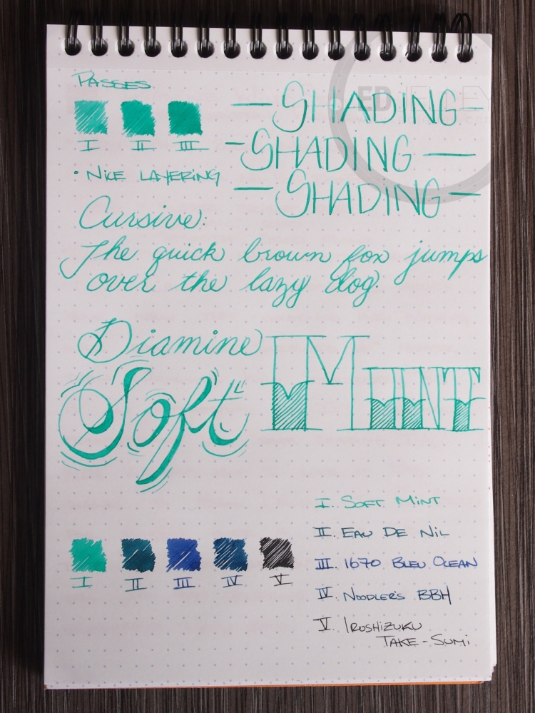 Diamine Soft Mint Fountain Pen Ink 3
