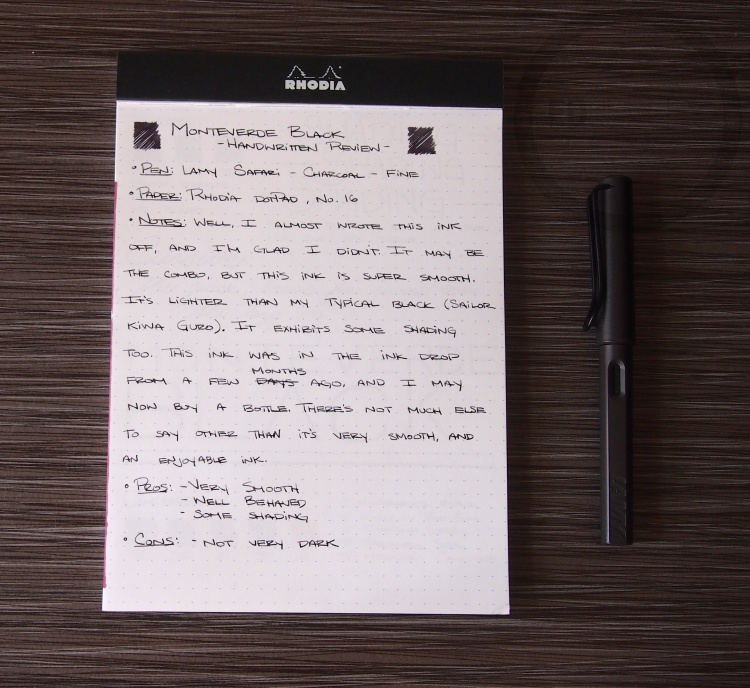 Monteverde Black Fountain Pen Ink Review 1