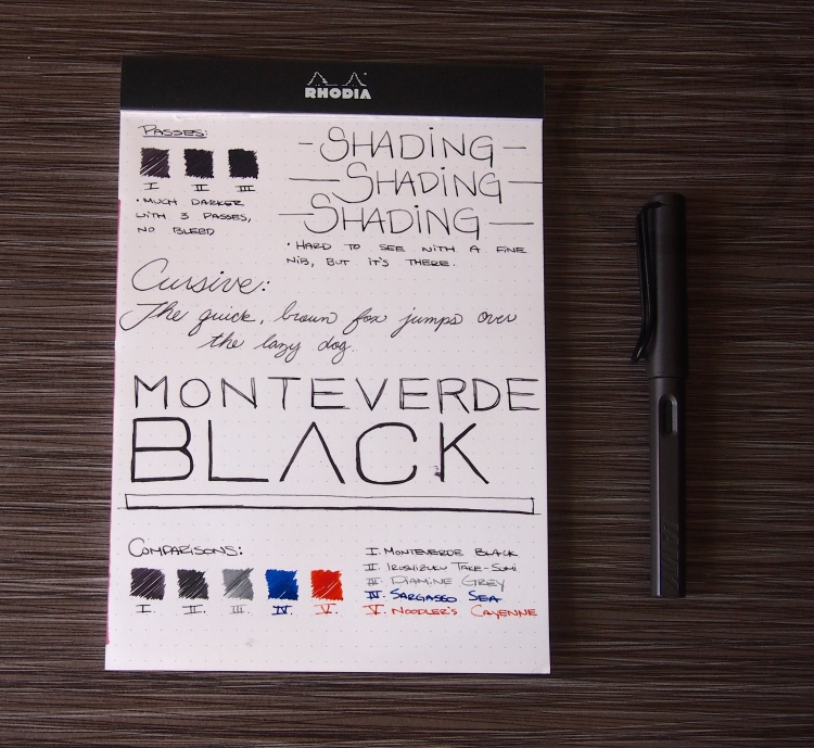 Monteverde Black Fountain Pen Ink Review 2