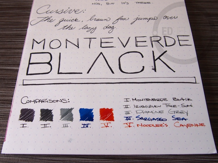 Monteverde Black Fountain Pen Ink Review 9