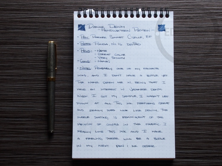 Diamine Denim Fountain Pen Ink Review 1