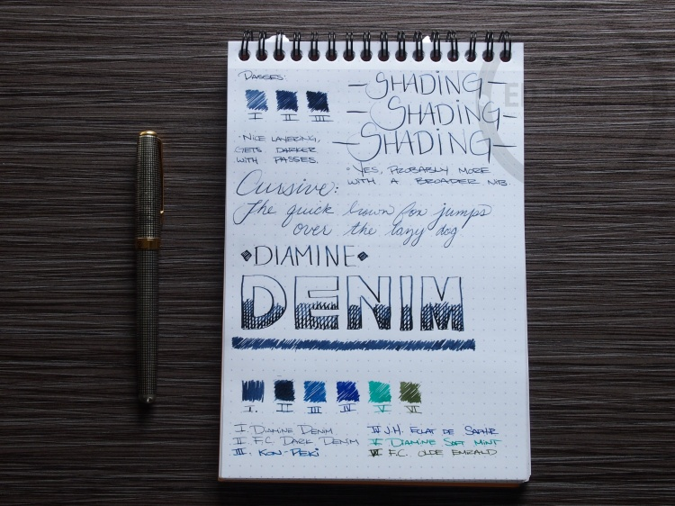 Diamine Denim Fountain Pen Ink Review 2