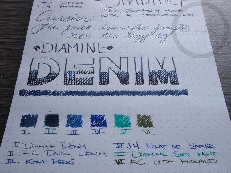 Diamine Denim Fountain Pen Ink Review 8