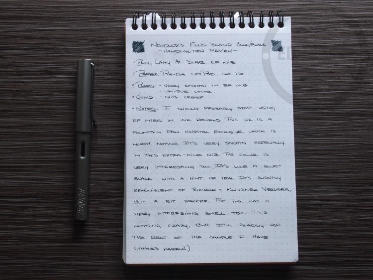 Noodler's Ellis Island Blue Black Fountain Pen Ink Review 1