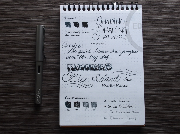 Noodler's Ellis Island Blue Black Fountain Pen Ink Review 2
