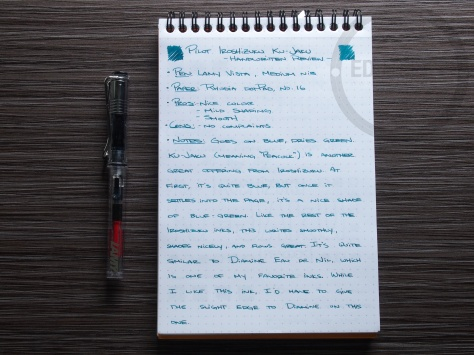 Pilot Iroshizuku ku-jaku Fountain Pen Ink Review 1