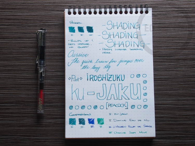 Pilot Iroshizuku ku-jaku Fountain Pen Ink Review 2