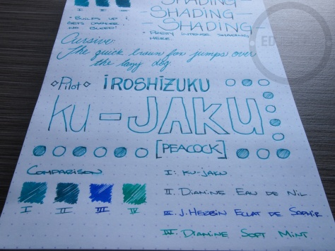 Pilot Iroshizuku ku-jaku Fountain Pen Ink Review 9