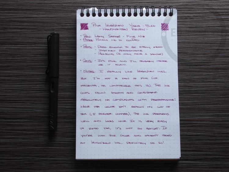 Pilot Iroshizuku yama-budo Foutnain Pen Ink Review 1
