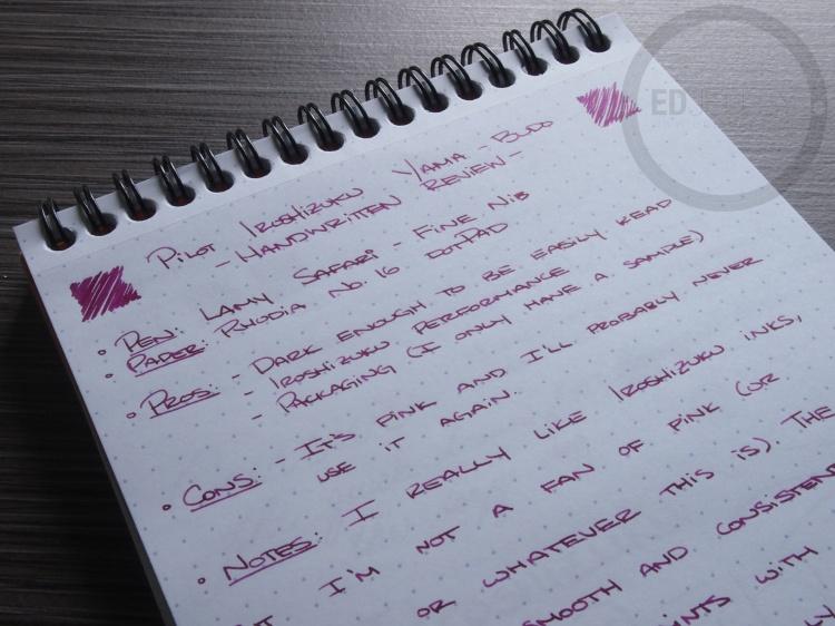 Pilot Iroshizuku yama-budo Foutnain Pen Ink Review 3