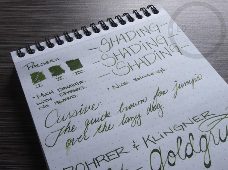 Rohrer and Klinger Alt-Goldgrun Fountain Pen Ink Review 1