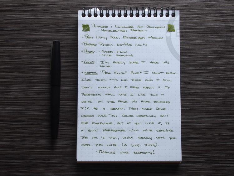 Rohrer and Klinger Alt-Goldgrun Fountain Pen Ink Review 2