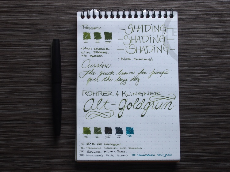 Rohrer and Klinger Alt-Goldgrun Fountain Pen Ink Review 3