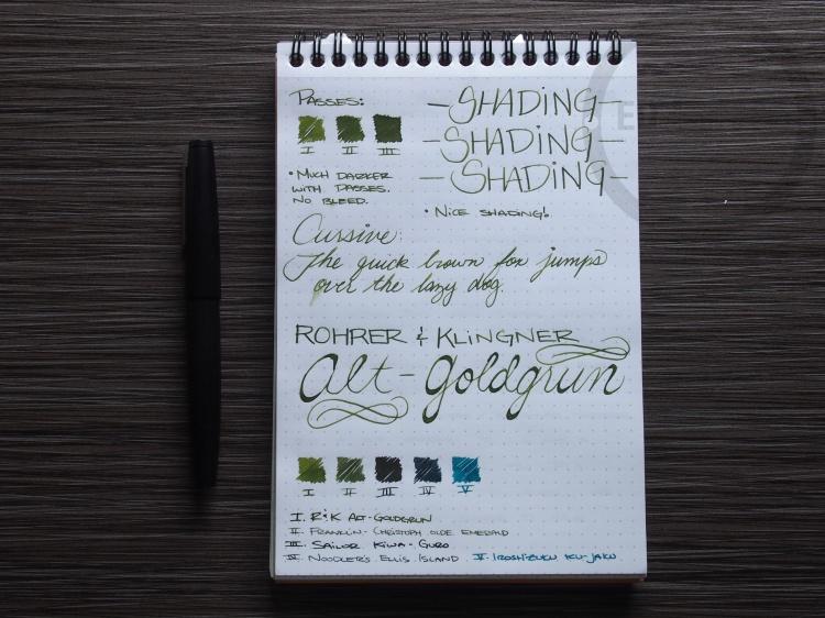 Rohrer and Klinger Alt-Goldgrun Fountain Pen Ink Review 3