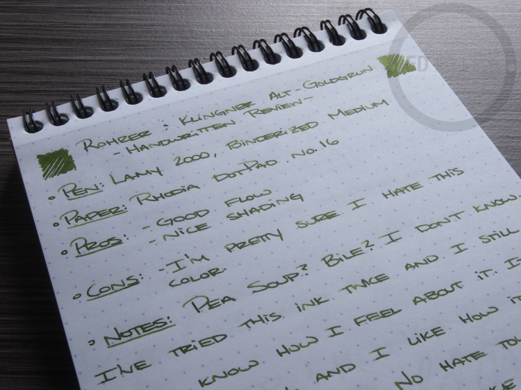 Rohrer and Klinger Alt-Goldgrun Fountain Pen Ink Review 4
