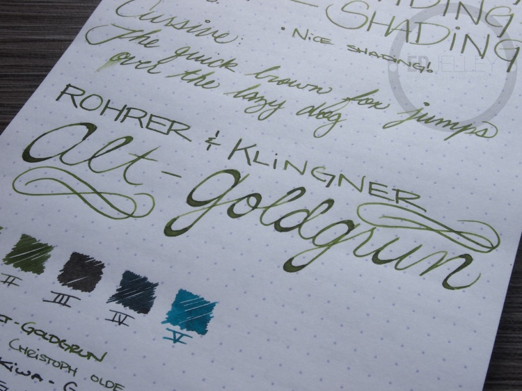Rohrer and Klinger Alt-Goldgrun Fountain Pen Ink Review 7