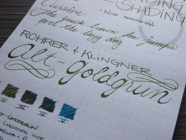 Rohrer and Klinger Alt-Goldgrun Fountain Pen Ink Review 7
