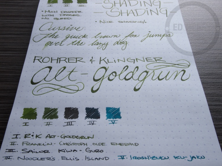 Rohrer and Klinger Alt-Goldgrun Fountain Pen Ink Review 8