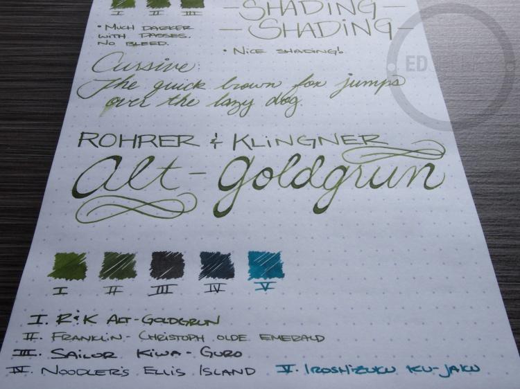 Rohrer and Klinger Alt-Goldgrun Fountain Pen Ink Review 8
