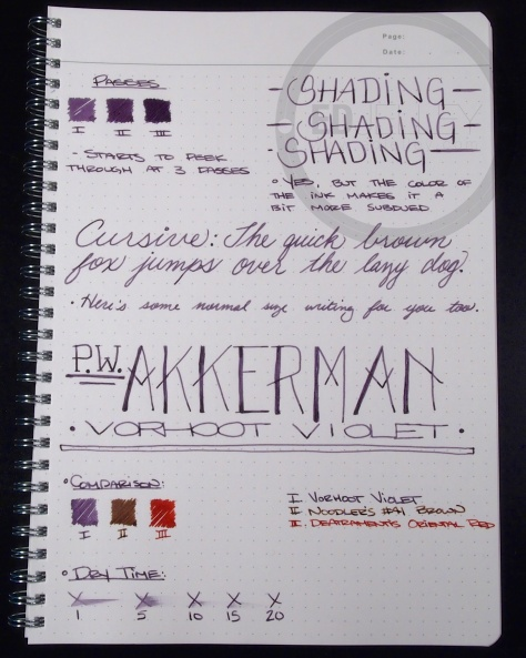 PW Akkerman Vorhoot Violet Fountain Pen Ink 1