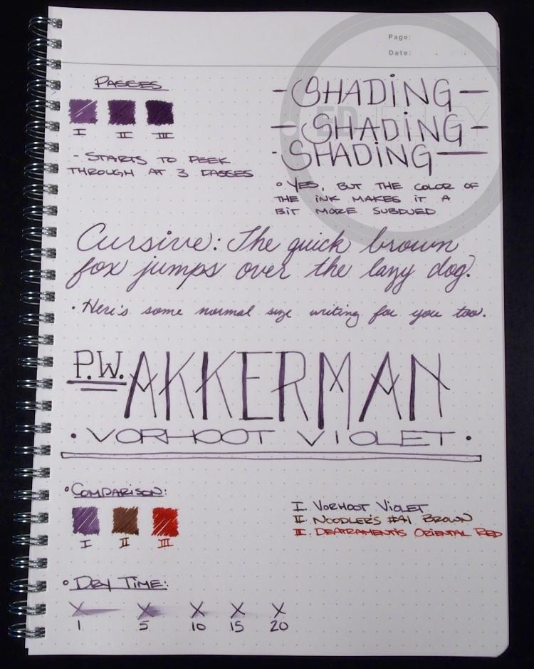 PW Akkerman Vorhoot Violet Fountain Pen Ink 1