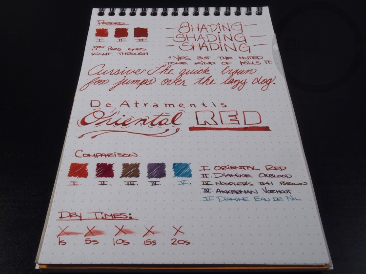 DeAtramentis Oriental Red Fountain Pen Ink Review 11