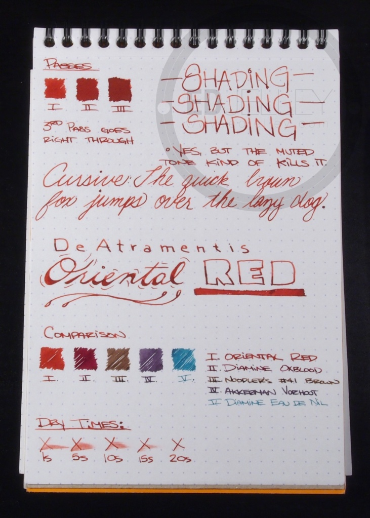 DeAtramentis Oriental Red Fountain Pen Ink Review 2