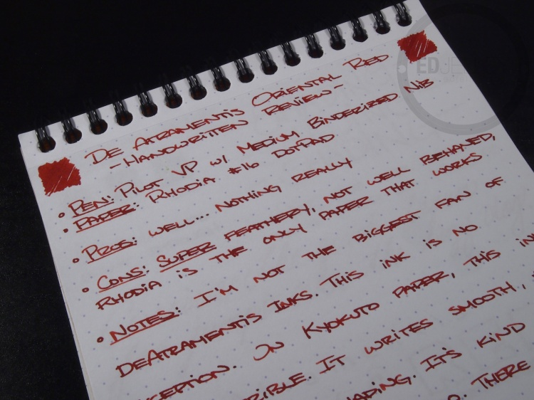 DeAtramentis Oriental Red Fountain Pen Ink Review 5