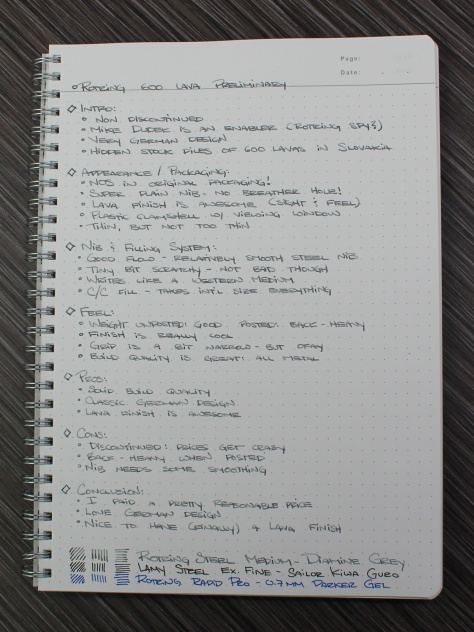 Rotring 600 Lava Handwritten
