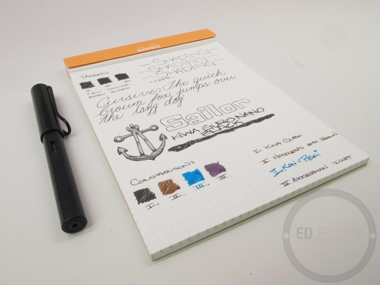 Sailor Kiwa Guro Nano Black Fountain Pen Ink Review