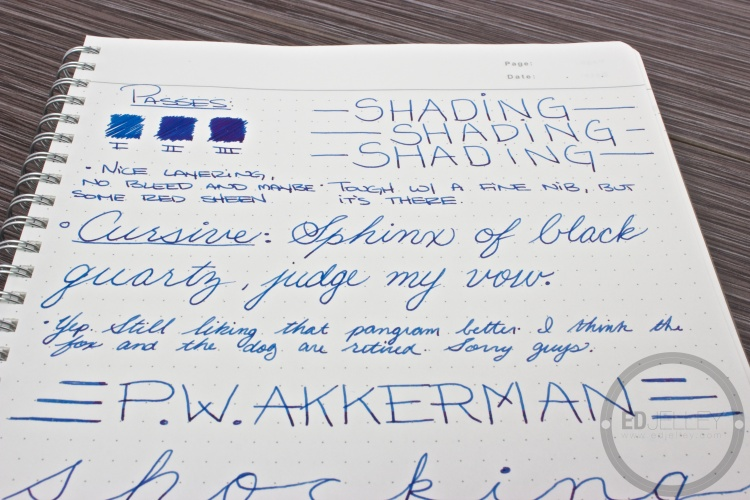 P.W. Akkerman Shocking Blue Fountain Pen Ink Review