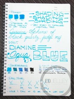 Diamine Aqua Blue Fountain Pen Ink Review