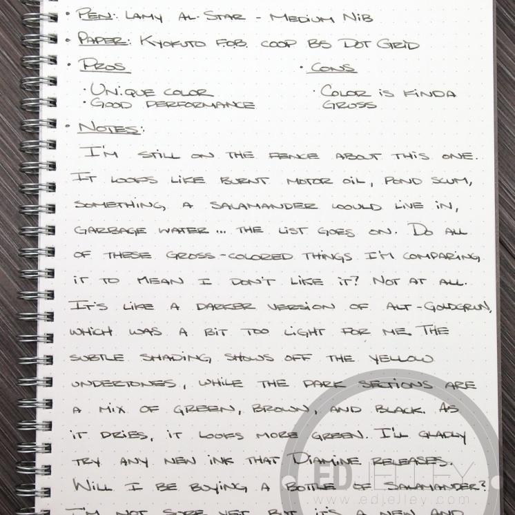 Diamine Salamander Fountain Pen Ink Review