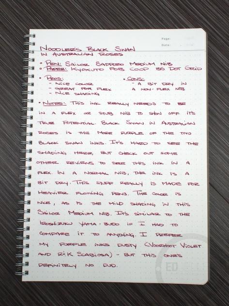 Noodler's Black Swan in Australian Roses Fountain Pen Ink Review